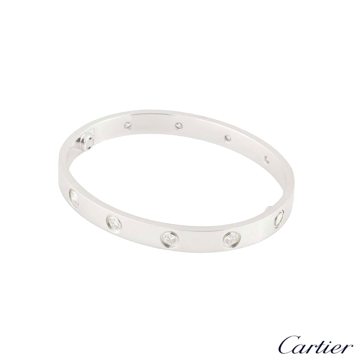 Cartier White Gold Full Diamond Love Bracelet Size 17 B6040717